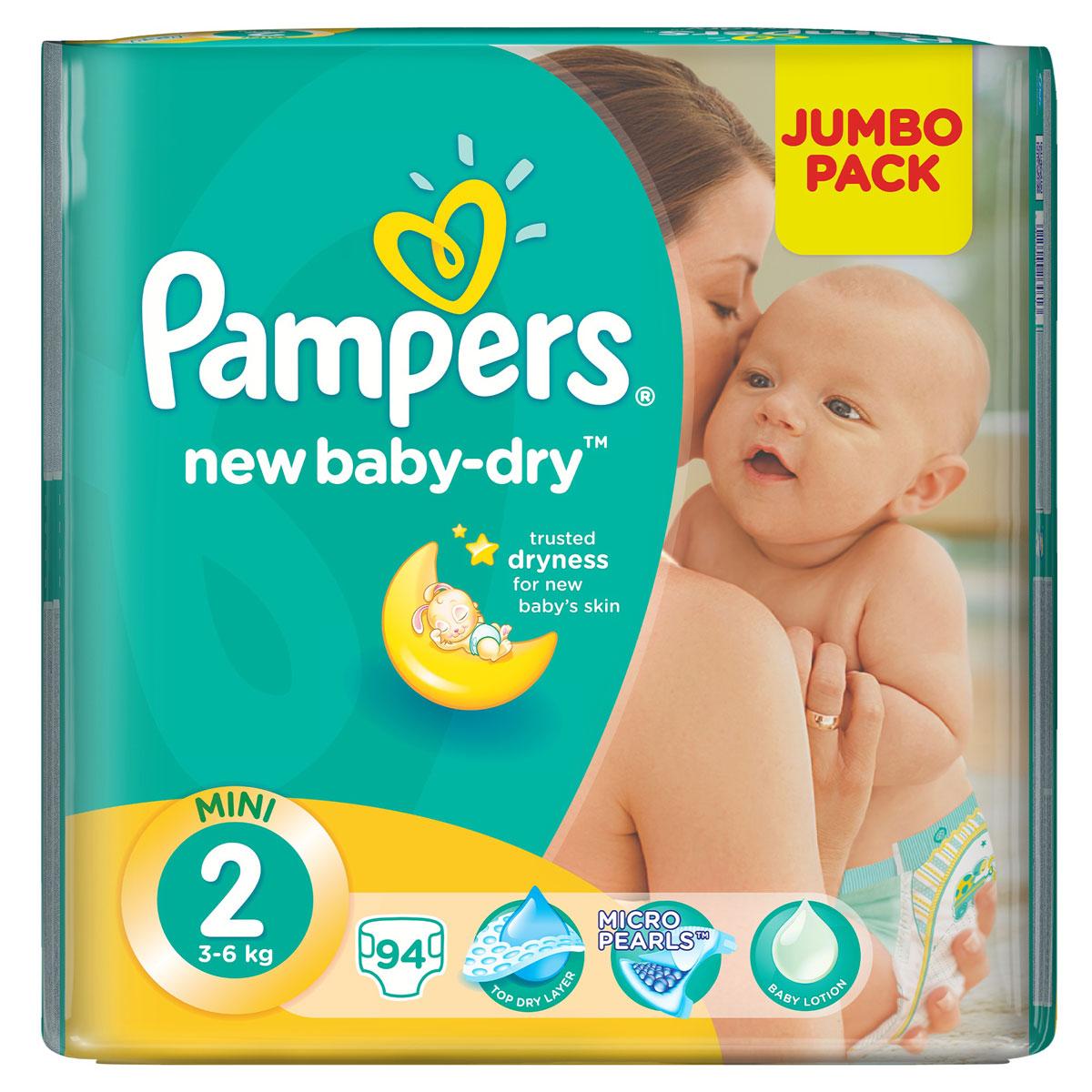 Pampers Подгузники New Baby-Dry 3-6 кг (размер 2) 94 штPA-81446627Для каждого доброго утра нужно, до 12 часов сухости ночью. Вот почему подгузники Pampers New Baby-Dry имеют жемчужные микрогранулы, которые впитывают влаги до 30 раз больше собственного веса и надежно удерживают ее внутри подгузника. Просыпайтесь радостно каждое утро с подгузниками Pampers New Baby-Dry. - Мягкий, как хлопок, уникальный верхний слой моментально впитывает влагу с кожи. - Жемчужные микрогранулы впитывают влаги до 30 раз больше собственного веса. - Экстра слой абсорбирует жидкость и распределяет ее по подгузнику. - Тянущиеся боковинки разработаны, чтоб малышу было комфортно двигаться, а подгузник сидел плотно.