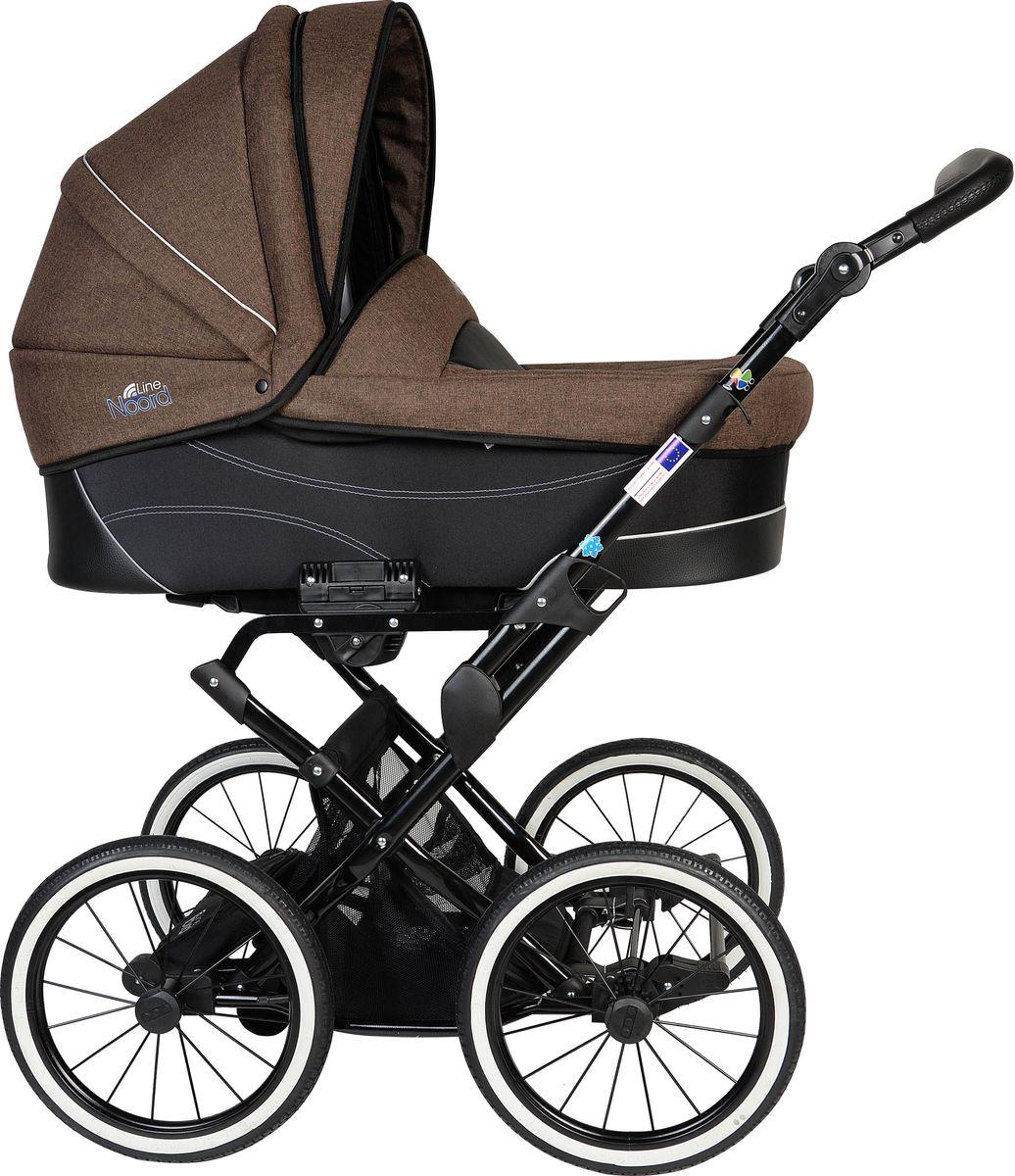 Noordline Коляска универсальная 2 в 1 Beatrice Classic цвет шоколадныйNL-BR2-CL-CHМодель коляски на классическом шасси с ременной амортизайцией- самой мягкой на сегодняшний день. Ремни позволяют раскачивать коляску в разных направлениях (вдоль и поперёк) и быстро укачивать малыша, что особенно важно для новорожденных. Этот всесезонный вездеход рекомендуется детям с рождения до 3 лет. Большие надувные колеса легко снимаются, как и люлька с сиденьем, если необходимо сложить шасси для дальнейшей транспортировки в багажнике либо в руке одного из родителей. Преимущества данной модели перед колясками другого производителя: Утепленный короб с деревянной вставкой для улучшения вентиляции под матрасиком и сохранения устойчивой плюсовой температуры внутри люльки в зимнее время. Надувные колеса-вездеходы, не требующие постоянной подкачки. Достаточно одного-двух раз в год проводить подкачку с помощью подручного насоса, включая велосипедный. Крепкая металлическая рама устойчива к химическим реагентам, которыми посыпаются городские улицы. Обивка...