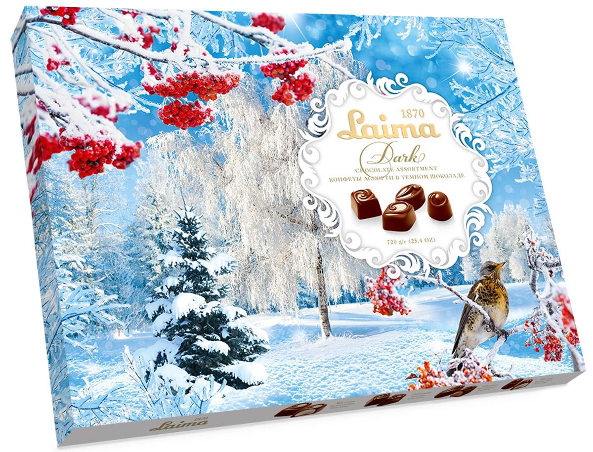 Laima Новогоднее Ассорти конфет в темном шоколаде, 720 гP140107112Огромная полностью заполненная коробка конфет в темном шоколаде: 4 разные формы с 3 начинками -молочный крем, крем-какао, крем-ирис-тоффи.