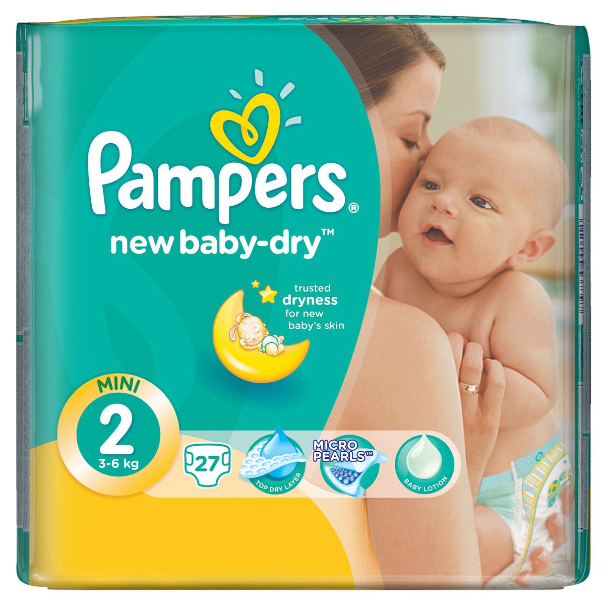 Pampers Подгузники New Baby-Dry 3-6 кг (размер 2) 27 штPA-81446629Для каждого доброго утра нужно, до 12 часов сухости ночью. Вот почему подгузники Pampers New Baby-Dry имеют жемчужные микрогранулы, которые впитывают влаги до 30 раз больше собственного веса и надежно удерживают ее внутри подгузника. Просыпайтесь радостно каждое утро с подгузниками Pampers New Baby-Dry. - Мягкий, как хлопок, уникальный верхний слой моментально впитывает влагу с кожи. - Жемчужные микрогранулы впитывают влаги до 30 раз больше собственного веса. - Экстра слой абсорбирует жидкость и распределяет ее по подгузнику. - Тянущиеся боковинки разработаны, чтоб малышу было комфортно двигаться, а подгузник сидел плотно.