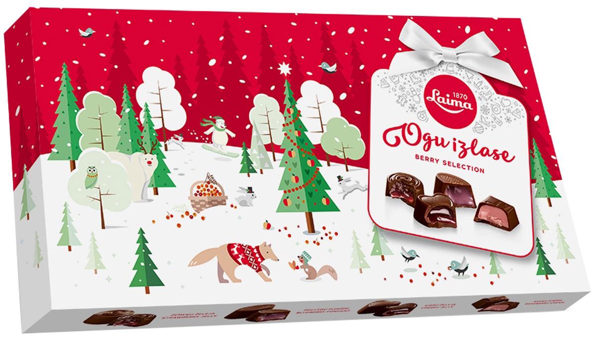 Laima Ассорти с ягодными начинками, 210 гP140110520Ассорти шоколадных конфет с 4 видами ягодных начинок: вишневой, малиновой, клубничной, черничной. Ягодное лукошко в одной коробке.