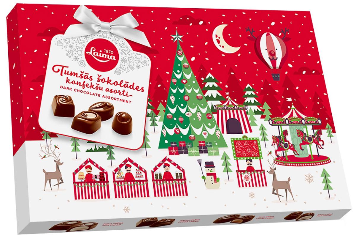 Laima Новогоднее Ассорти конфет в темном шоколаде, 360 гP140005141Ассорти конфет в темном шоколаде. 4 разные формы, 3 начинки: молочный крем, крем-какао, крем-ирис-тоффи.
