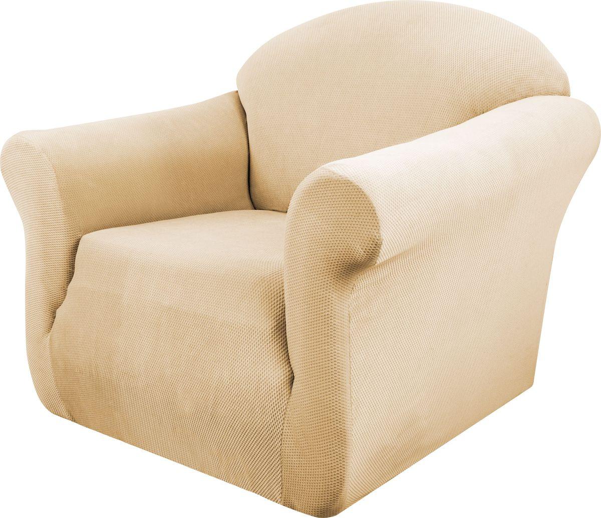 Чехол на кресло Медежда Бирмингем, цвет: бежевый1401031103002Чехол на кресло из коллекции Бирмингем изготовлен из стрейчевого велюра. Поверхность велюра приятна для прикосновений. Сочетание нежности и прочности - визитная карточка велюра. Вещи из него даже спустя много лет смотрятся, как новые. Велюр - по праву один из уверенных лидеров среди мебельных тканей. Тонкий геометрический дизайн добавляет уют помещению. Чехол легко растягивается и хорошо принимает форму кресла, подходит для большинства стандартных кресел с шириной спинки от 80 до 110 см и высотой не более 95 см.