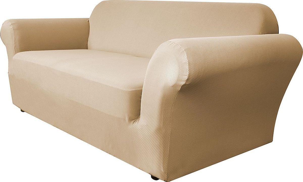 Чехол на диван Медежда Бирмингем, двухместный, цвет: бежевый1402031103002Чехол на двухместный диван из коллекции Бирмингем изготовлен из стрейчевого велюра. Поверхность велюра приятна для прикосновений. Сочетание нежности и прочности - визитная карточка велюра. Вещи из него даже спустя много лет смотрятся, как новые. Велюр - по праву один из уверенных лидеров среди мебельных тканей. Тонкий геометрический дизайн добавляет уют помещению. Чехол легко растягивается и хорошо принимает форму дивана, подходит для большинства стандартных диванов с шириной спинки от 145 до 185 см