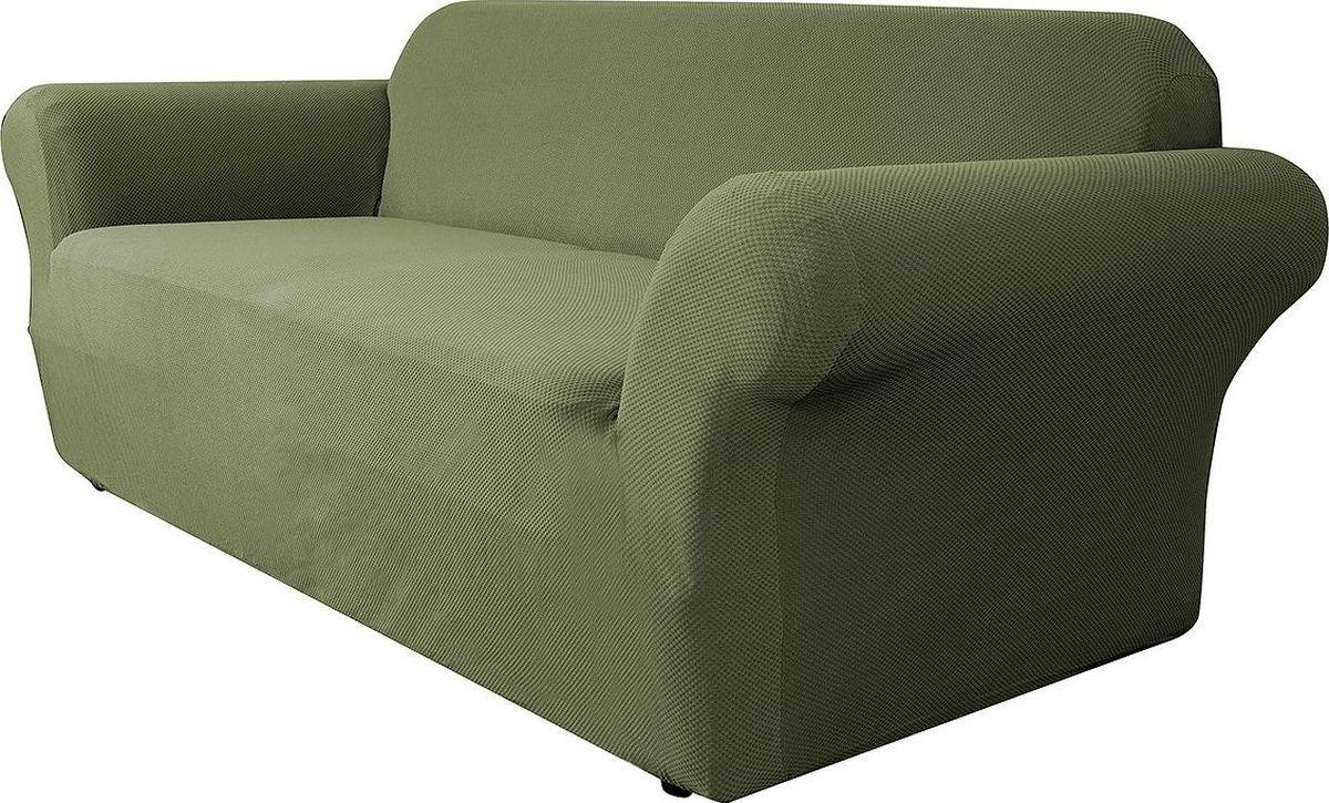 Чехол на диван Медежда Бирмингем, трехместный, цвет: оливковый1403031108002Чехол на трехместный диван из коллекции Бирмингем изготовлен из стрейчевого велюра. Поверхность велюра приятна для прикосновений. Сочетание нежности и прочности - визитная карточка велюра. Вещи из него даже спустя много лет смотрятся, как новые. Велюр - по праву один из уверенных лидеров среди мебельных тканей. Тонкий геометрический дизайн добавляет уют помещению. Чехол легко растягивается и хорошо принимает форму дивана, подходит для большинства стандартных диванов с шириной спинки от 185 до 235 см.