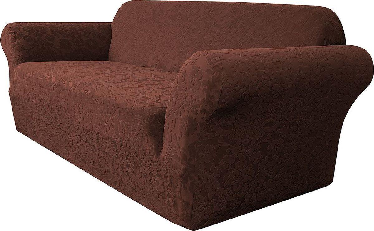 Чехол на диван Медежда Челтон, трехместный, цвет: шоколадный1403051111000Универсальный чехол на диван изготовлен из стрейчевого жаккарда. Элегантный выпуклый рисунок прекрасно подходит к интерьеру как в классическом, так и в современном стиле. Тактильное наслаждение, вызываемое тканью, сочетается с эластичностью. Чехол красиво облегает формы мебели и выглядит как дорогая обивка, выполненная на заказ. Чехол подходит для большинства стандартных диванов