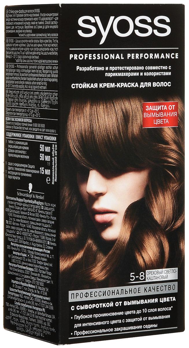 Syoss Color Краска для волос оттенок 5-8 Ореховый светло-каштановый, 115 мл9393110Откройте для себя профессиональное качество окрашивания с красками Syoss, разработанными и протестированными совместно с парикмахерами и колористами. Превосходный результат, как после посещения салона. Высокоэффективная формула закрепляет интенсивные цветовые пигменты глубоко внутри волоса, обеспечивая насыщенный, точный результат окрашивания и блеск волос, а также превосходное закрашивание седины. Кондиционер SYOSS «Защита Цвета- с комплексом Pro-Cellium Keratin и Провитамином Б5 способствует восстановлению волос изнутри – для сильных волос и стойкого, насыщенного цвета, полного блеска.