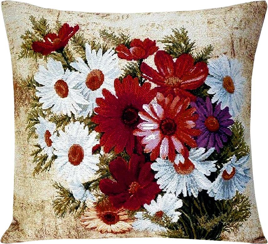 Подушка декоративная Рапира Герберы с ромашками, 45 х 45 см4188Декоративная подушка с наполнителем холлофайбер со съёмным чехлом на молнии, выполненным из жаккарда, - это яркий штрих в интерьере комнаты. Лицевая сторона - гобелен (жаккардовое ткачество), оборотная сторона - однотонная ткань типа плюш.