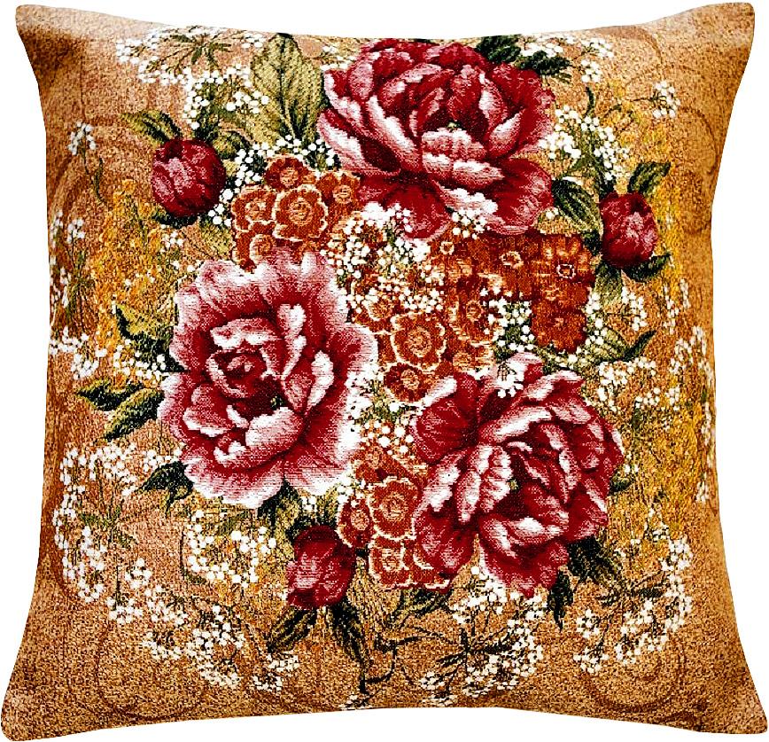 Подушка декоративная Рапира Розы, 45 х 45 см4303Декоративная подушка с наполнителем холлофайбер со съёмным чехлом на молнии, выполненным из жаккарда, - это яркий штрих в интерьере комнаты. Лицевая сторона - гобелен (жаккардовое ткачество), оборотная сторона - однотонная ткань типа плюш.