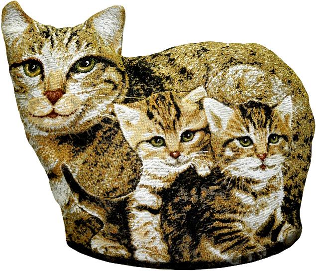 Подушка декоративная Рапира Мурка с котятами, 40 х 50 см4627Декоративная подушка с наполнителем холлофайбер в форме кошки - это яркий штрих в интерьере комнаты. Оборотная сторона - гобелен (жаккардовое ткачество) с рисунком шкуры, повторяющим окраску кошки. Чехол не снимается.