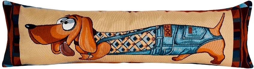 Подушка декоративная Рапира Модник, 35 х 100 см4628Декоративная гобеленовая подушка со съёмным чехлом на молнии хлопок с полиэфиром.Лицевая сторона гобелен(жаккардовое ткачество),оборотная сторона однотонная ткань типа плюш.