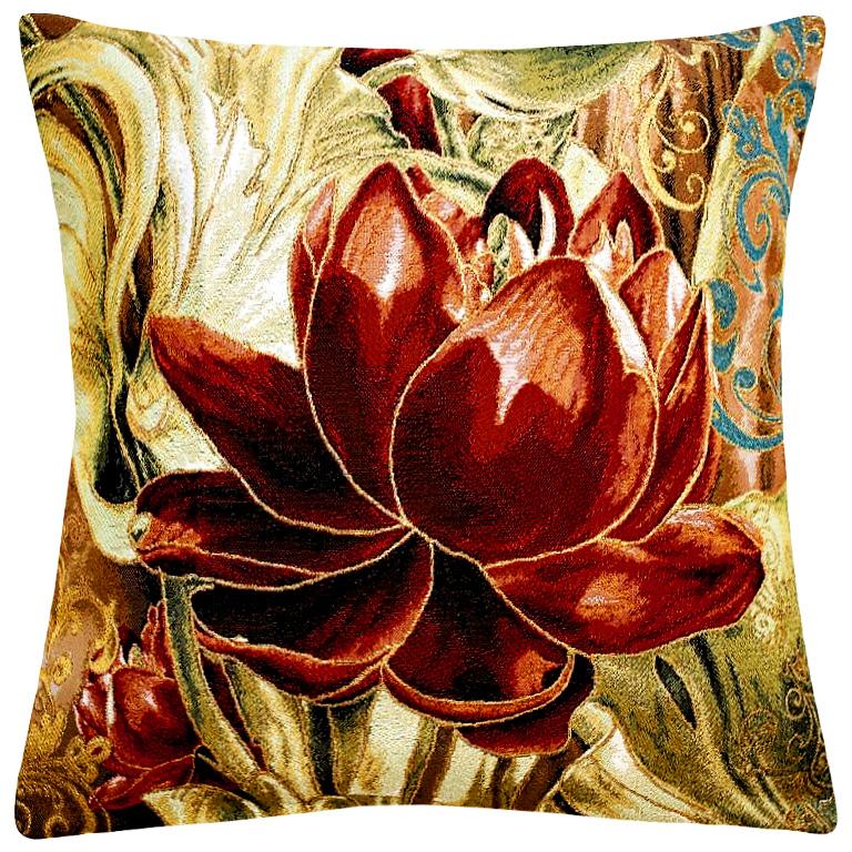 Подушка декоративная Рапира Абрис. Пион, 45 х 45 см4743Декоративная подушка с наполнителем холлофайбер со съёмным чехлом на молнии, выполненным из жаккарда, - это яркий штрих в интерьере комнаты. Лицевая сторона - гобелен (жаккардовое ткачество), оборотная сторона - однотонная ткань типа плюш.