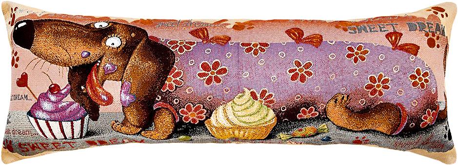 Подушка декоративная Рапира Баловни. Такса. Кекс, 35 х 90 см4760Декоративная подушка с наполнителем холлофайбер со съёмным чехлом на молнии, выполненным из жаккарда, - это яркий штрих в интерьере комнаты. Лицевая сторона - гобелен (жаккардовое ткачество), оборотная сторона - однотонная ткань типа плюш.