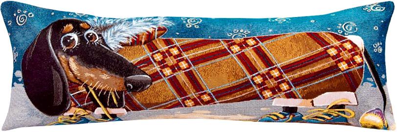 Подушка декоративная Рапира Друзья. Такса. Квадрат, 35 х 85 см4932Декоративная гобеленовая подушка со съёмным чехлом на молнии хлопок с полиэфиром.Лицевая сторона гобелен(жаккардовое ткачество),оборотная сторона однотонная ткань типа плюш.