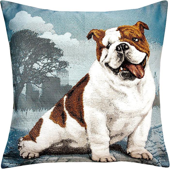 Подушка декоративная Рапира Английский бульдог, 45 х 45 см4956Декоративная подушка с наполнителем холлофайбер со съёмным чехлом на молнии, выполненным из жаккарда, - это яркий штрих в интерьере комнаты. Лицевая сторона - гобелен (жаккардовое ткачество), оборотная сторона - однотонная ткань типа плюш.