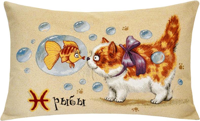 Подушка декоративная Рапира Котята. Рыбы, 50 х 70 см5090Декоративная подушка с наполнителем холлофайбер со съёмным чехлом на молнии, выполненным из жаккарда, - это яркий штрих в интерьере комнаты. Лицевая сторона - гобелен (жаккардовое ткачество), оборотная сторона - однотонная ткань типа плюш.