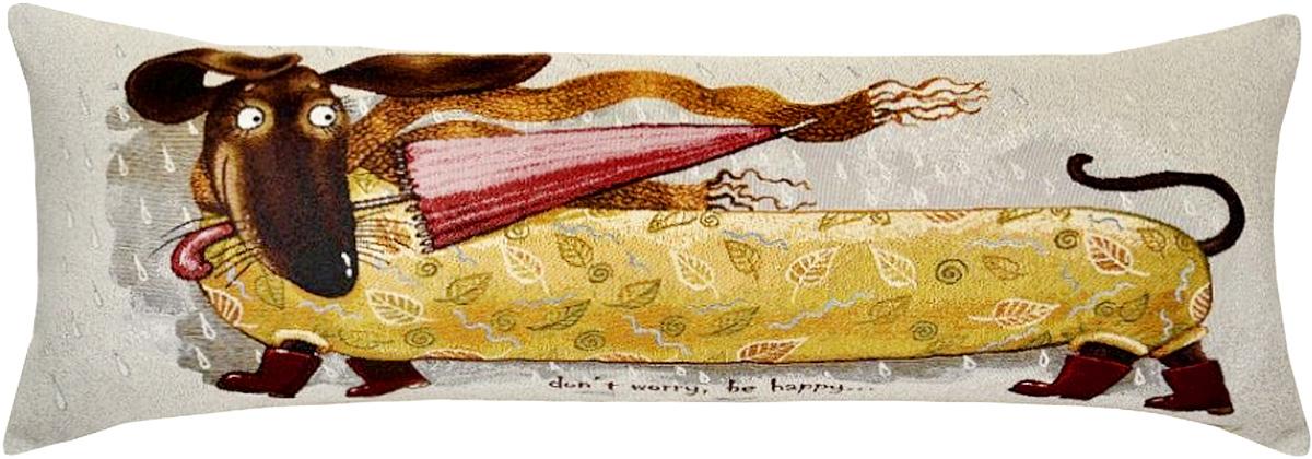 Подушка декоративная Рапира Баловни. Такса с зонтиком, 35 х 90 см5100Декоративная гобеленовая подушка со съёмным чехлом на молнии хлопок с полиэфиром.Лицевая сторона гобелен(жаккардовое ткачество),оборотная сторона однотонная ткань типа плюш.