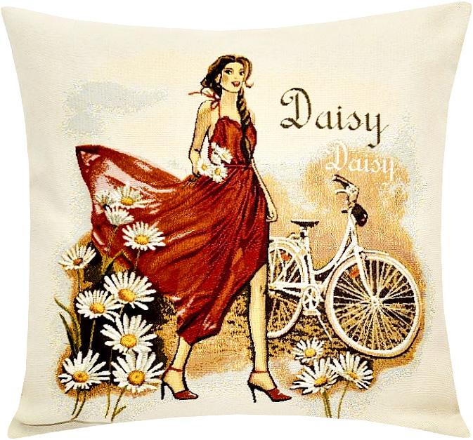 Подушка декоративная Рапира Леди ромашка, 45 х 45 см5228Декоративная подушка с наполнителем холлофайбер со съёмным чехлом на молнии, выполненным из жаккарда, - это яркий штрих в интерьере комнаты. Лицевая сторона - гобелен (жаккардовое ткачество), оборотная сторона - однотонная ткань типа плюш.