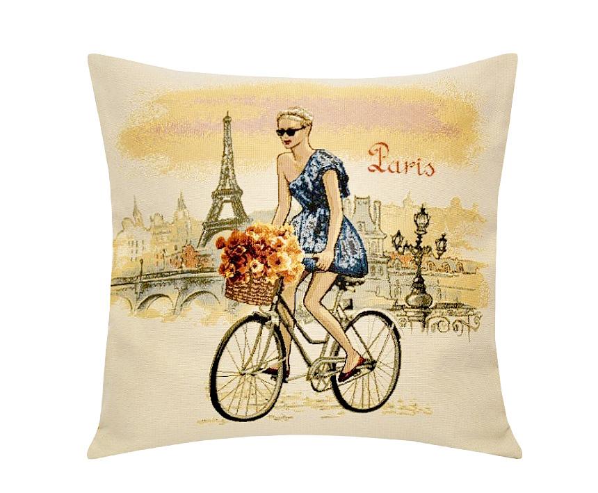 Подушка декоративная Рапира Леди. Париж, 45 х 45 см5233Декоративная подушка с наполнителем холлофайбер со съёмным чехлом на молнии, выполненным из жаккарда, - это яркий штрих в интерьере комнаты. Лицевая сторона - гобелен (жаккардовое ткачество), оборотная сторона - однотонная ткань типа плюш.