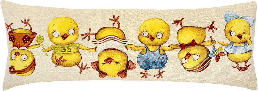 Подушка декоративная Рапира Цып-Цып, 35 х 90 см5241Декоративная подушка с наполнителем холлофайбер со съёмным чехлом на молнии, выполненным из жаккарда, - это яркий штрих в интерьере комнаты. Лицевая сторона - гобелен (жаккардовое ткачество), оборотная сторона - однотонная ткань типа плюш.