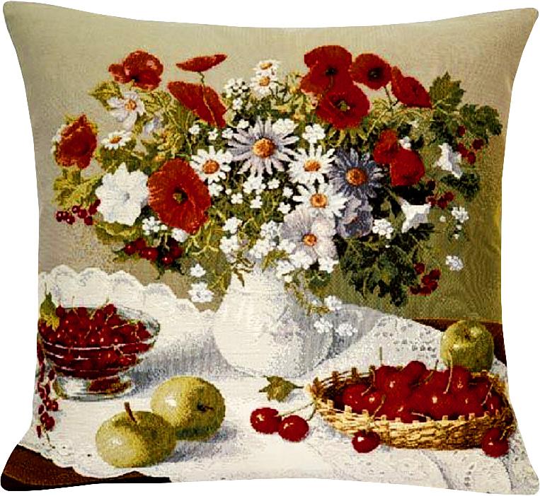 Подушка декоративная Рапира Цветы и ягоды, 45 х 45 см4056/1Декоративная гобеленовая подушка со съёмным чехлом на молнии хлопок с полиэфиром.Лицевая сторона гобелен(жаккардовое ткачество),оборотная сторона однотонная ткань типа плюш.