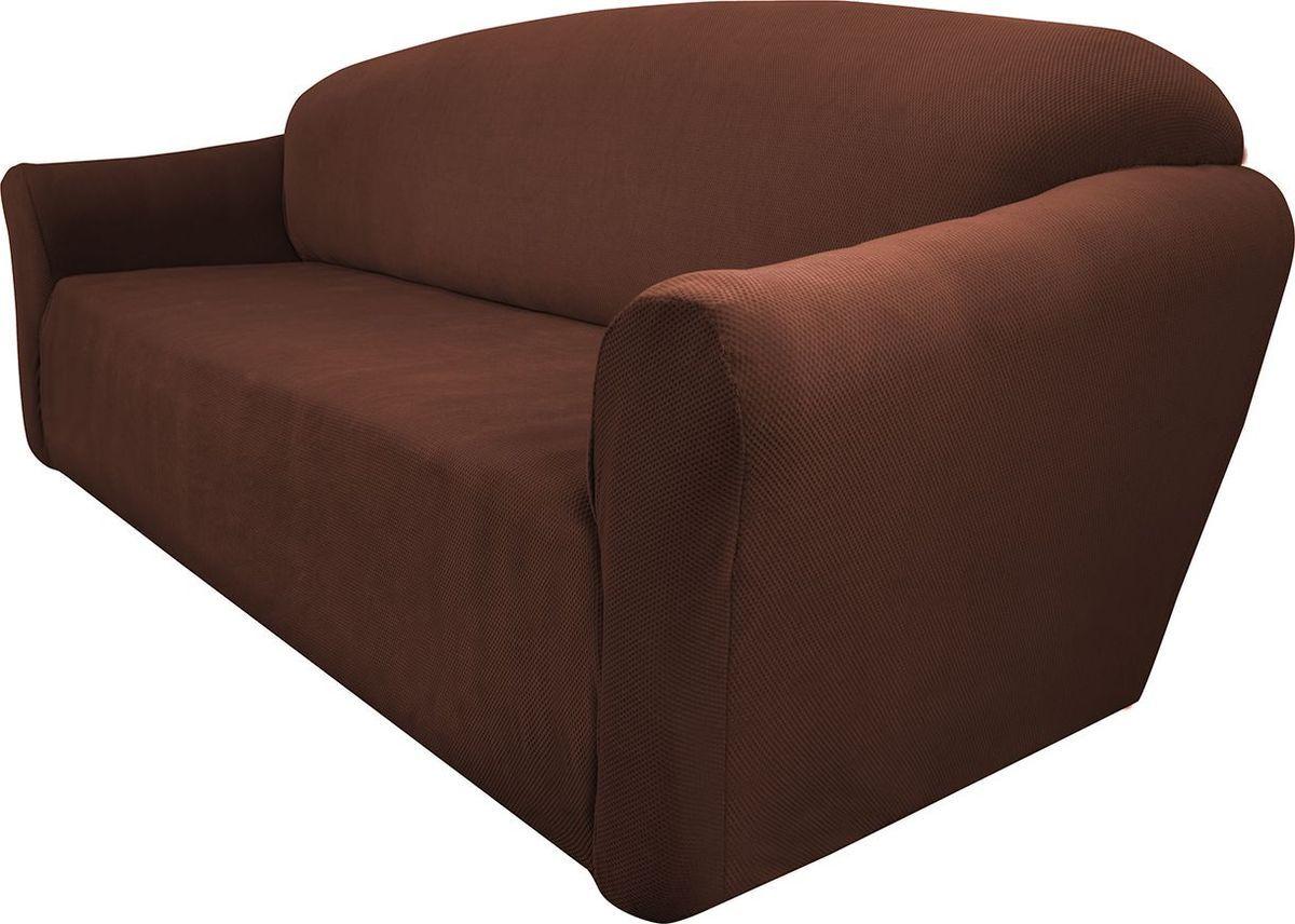 Чехол на диван Медежда Бирмингем, трехместный, цвет: шоколадный1403031111002Чехол на трехместный диван из коллекции Бирмингем изготовлен из стрейчевого велюра. Поверхность велюра приятна для прикосновений. Сочетание нежности и прочности - визитная карточка велюра. Вещи из него даже спустя много лет смотрятся, как новые. Велюр - по праву один из уверенных лидеров среди мебельных тканей. Тонкий геометрический дизайн добавляет уют помещению. Чехол легко растягивается и хорошо принимает форму дивана, подходит для большинства стандартных диванов с шириной спинки от 185 до 235 см
