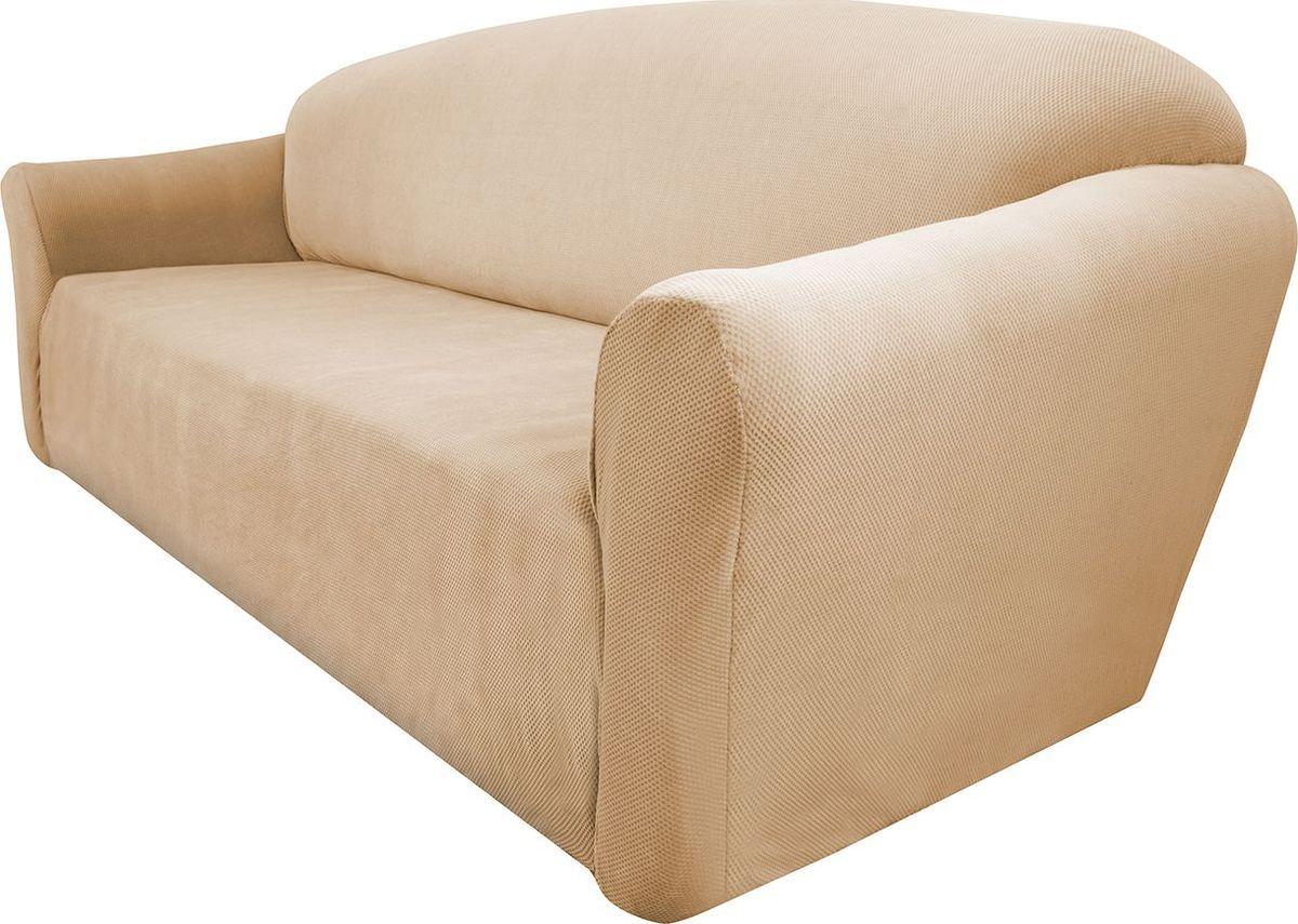 Чехол на диван Медежда Бирмингем, трехместный, цвет: бежевый1403031103002Чехол на трехместный диван из коллекции Бирмингем изготовлен из стрейчевого велюра. Поверхность велюра приятна для прикосновений. Сочетание нежности и прочности - визитная карточка велюра. Вещи из него даже спустя много лет смотрятся, как новые. Велюр - по праву один из уверенных лидеров среди мебельных тканей. Тонкий геометрический дизайн добавляет уют помещению. Чехол легко растягивается и хорошо принимает форму дивана, подходит для большинства стандартных диванов с шириной спинки от 185 до 235 см