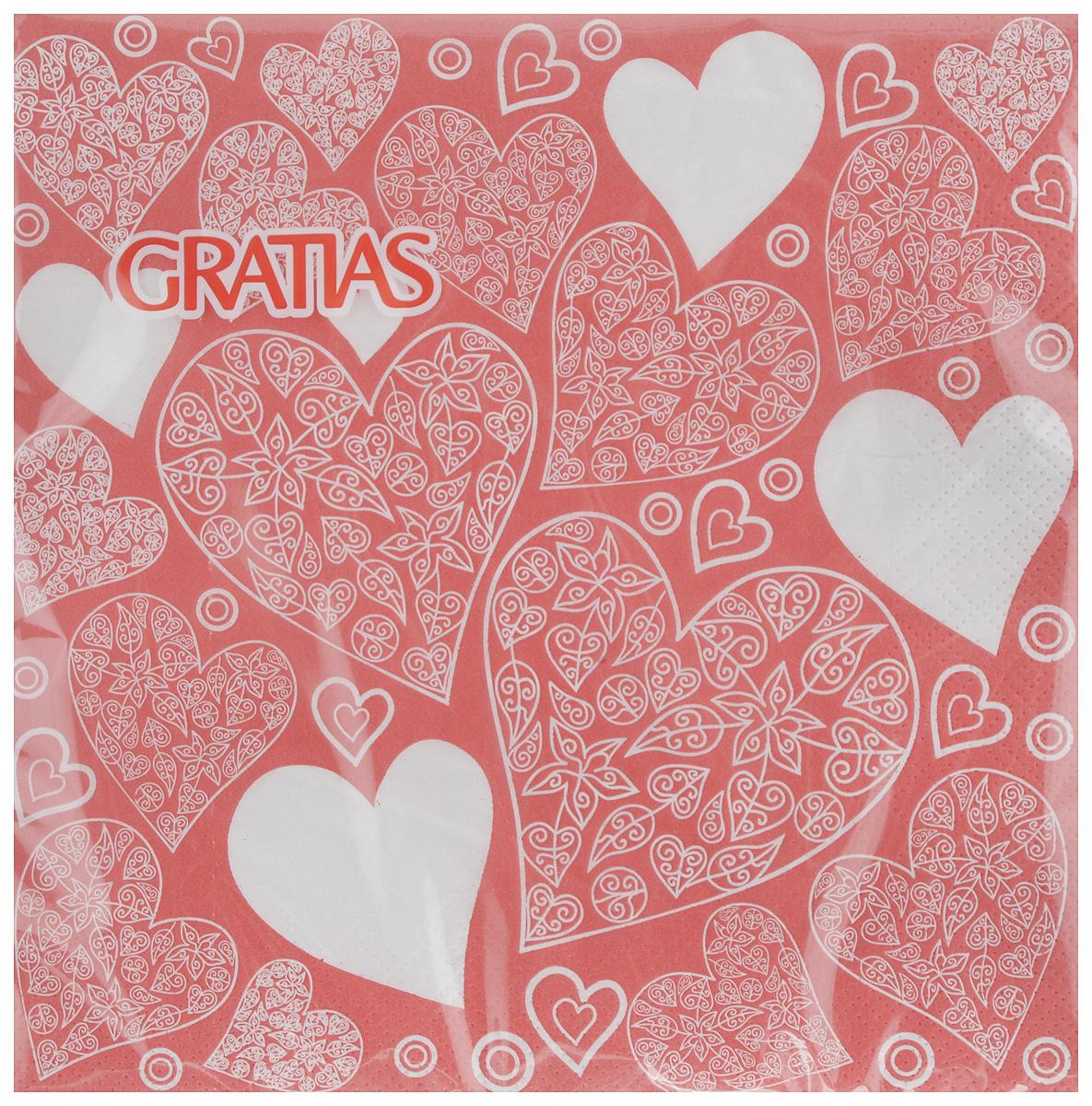 Салфетки бумажные Gratias Сердечки, трехслойные, 33 х 33 см, 20 шт328Трехслойные бумажные салфетки Gratias Сердечки, выполненные из натуральной целлюлозы, станут отличным дополнением любого праздничного стола. Они отличаются необычной мягкостью и прочностью. Размер листа: 33 х 33 см. Количество слоев: 3.