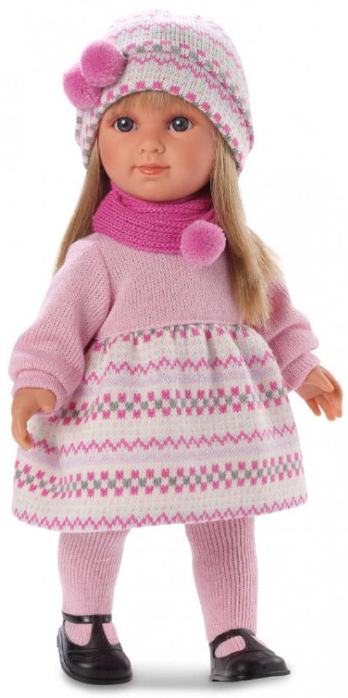 Llorens Кукла Елена цвет одежды розовыйL 53514Кукла Llorens Елена придется по душе каждой маленькой принцессе. Она одета в розовое платье, шарфик и шапочку с помпонами. На ногах куклы - розовые колготки и черные туфельки. У куклы милое личико, выразительные глаза с длинными ресницами и шелковистые длинные волосы, которые позволят делать различные прически. У куклы мягконабивное тело. Ручки, ножки и голова куклы подвижны. Стильный наряд и реалистичные черты лица не оставят равнодушной ни одну малышку. Благодаря играм с куклой, ваша малышка сможет развить фантазию и любознательность, овладеть навыками общения и научиться ответственности. Порадуйте свою принцессу таким прекрасным подарком!