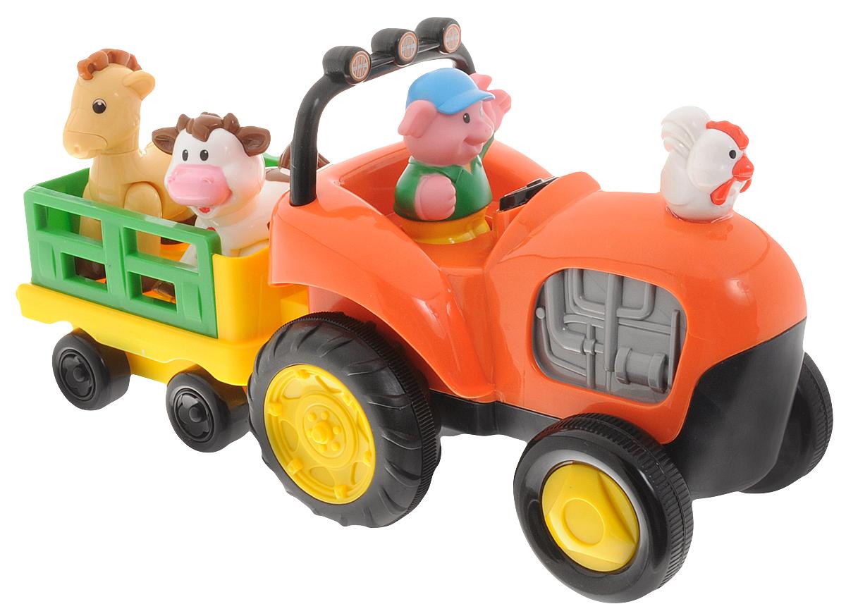 Kiddieland Развивающая игрушка Трактор фермера с животнымиKID 052746Игровой развивающий набор Kiddieland Трактор фермера с животными - это яркая многофункциональная игрушка для малышей в виде трактора с мигающими огоньками, приятной музыкой и забавными звуками. Трактор умеет ездить, что позволяет стимулировать малыша к ползанию или к ходьбе за ним. За рулем трактора сидит веселый фермер-поросенок, который везет домашних животных: лошадку и коровку. На капоте трактора сидит петушок. Зверушки едут в отдельном прицепе, у каждого животного есть свое отдельное место. При нажатии на фигурки они издают соответствующие реалистичные звуки и поют песенки. Трактор начинает движение, если нажать на руль. Его движение сопровождается очень реалистичным звуком двигателя и тормозов. Фигурки снимаются с трактора, поэтому с ними можно играть отдельно. Игрушка развивает мелкую моторику, мышление, зрительное и звуковое восприятие, повышает двигательную активность малышей. Рекомендуемый возраст: от 12 месяцев. Питание: 3 батарейки типа АА...