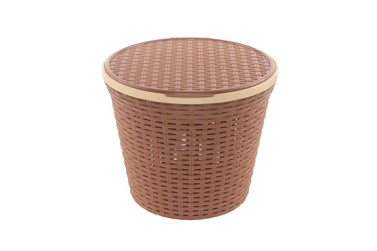 Корзина для хранения Violet Ротанг, с крышкой, 33 х 33 х 27 см. 810254810254Корзина для хранения круглая с крышкой, имитирущая плетение ротанг. Удобная, вместительная, впишется в любой интерьер.