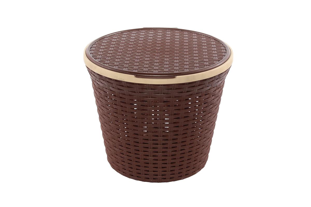 Корзина для хранения Violet Ротанг, с крышкой, 35 х 35 х 29 см. 810539810539Корзина для хранения круглая с крышкой, имитирущая плетение ротанг. Удобная, вместительная, впишется в любой интерьер.