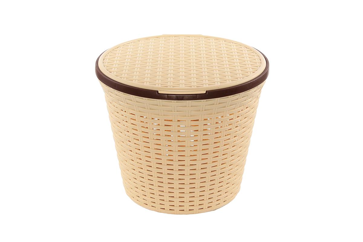 Корзина для хранения Violet Ротанг, с крышкой, 35 х 35 х 29 см. 810542810542Корзина для хранения круглая с крышкой, имитирущая плетение ротанг. Удобная, вместительная, впишется в любой интерьер.