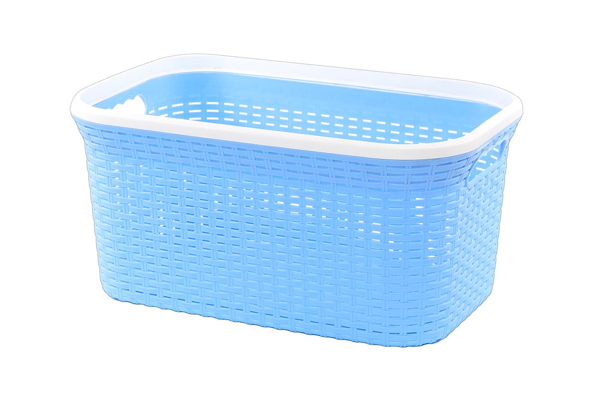 Корзина для хранения Violet Ротанг, цвет: голубой, 50 х 33 х 25 см810552Прямоугольная корзина Violet Ротанг, изготовленная из полипропилена, имитирующая плетение ротанг, предназначена для хранения мелочей в ванной, на кухне, даче или гараже. Позволяет хранить мелкие вещи, исключая возможность их потери. Это легкая корзина со сплошным дном, жесткой кромкой, с небольшими отверстиями на стенках.