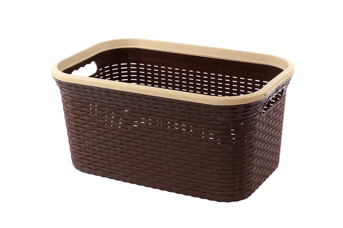 Корзина для хранения Violet Ротанг, цвет: коричневый, 54 х 35 х 26 см810557Прямоугольная корзина Violet Ротанг, изготовленная из полипропилена, имитирующая плетение ротанг, предназначена для хранения мелочей в ванной, на кухне, даче или гараже. Позволяет хранить мелкие вещи, исключая возможность их потери. Это легкая корзина со сплошным дном, жесткой кромкой, с небольшими отверстиями на стенках.