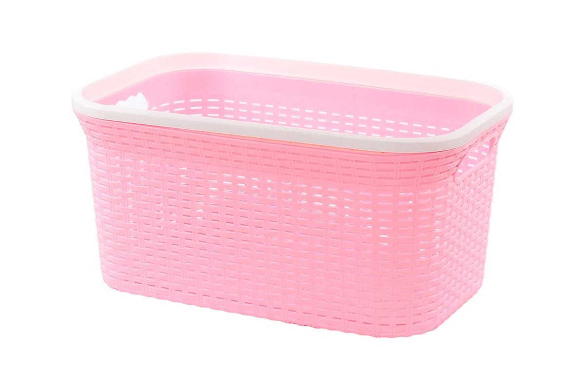 Корзина для хранения Violet Ротанг, цвет: розовый, 54 х 35 х 26 см810Прямоугольная корзина Violet Ротанг, изготовленная из полипропилена, имитирующая плетение ротанг, предназначена для хранения мелочей в ванной, на кухне, даче или гараже. Позволяет хранить мелкие вещи, исключая возможность их потери. Это легкая корзина со сплошным дном, жесткой кромкой, с небольшими отверстиями на стенках.