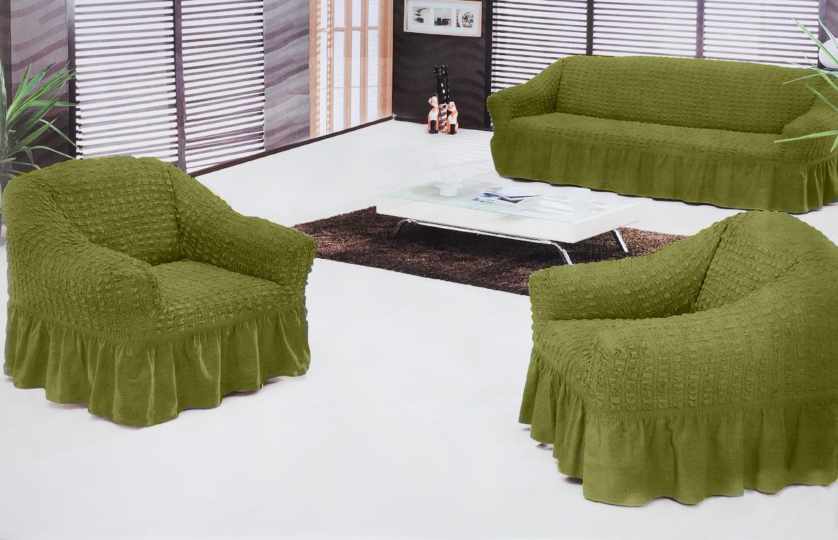Набор чехлов для мягкой мебели Burumcuk Bulsan, цвет: зеленый, размер: стандарт, 3 шт1717/CHAR015Набор чехлов для мягкой мебели Burumcuk Bulsan придаст вашей мебели новый внешний вид. Каждый элемент интерьера нуждается в уходе и защите. В большинстве случаев потертости появляются на диванах и креслах. В набор входит чехол для трехместного дивана и два чехла для кресла. Чехлы изготовлены из 60% полиэстера и 40% хлопка. Такой материал прекрасно переносит нагрузки, долго не стареет и его просто очистить от грязи. Набор чехлов Karna Bulsan создан для тех, кто не планирует покупать новую мебель каждый год. Размер кресла: Ширина и глубина посадочного места: 70-80 см. Высота спинки от посадочного места: 70-80 см. Высота подлокотников: 35-45 см. Ширина подлокотников: 25-35 см. Высота юбки: 35 см. Размер дивана: Ширина посадочного места: 210-260 см. Глубина посадочного места: 70-80см. Высота спинки от посадочного места: 70-80 см. Ширина подлокотников: 25-35 см. Высота юбки: 35 см.