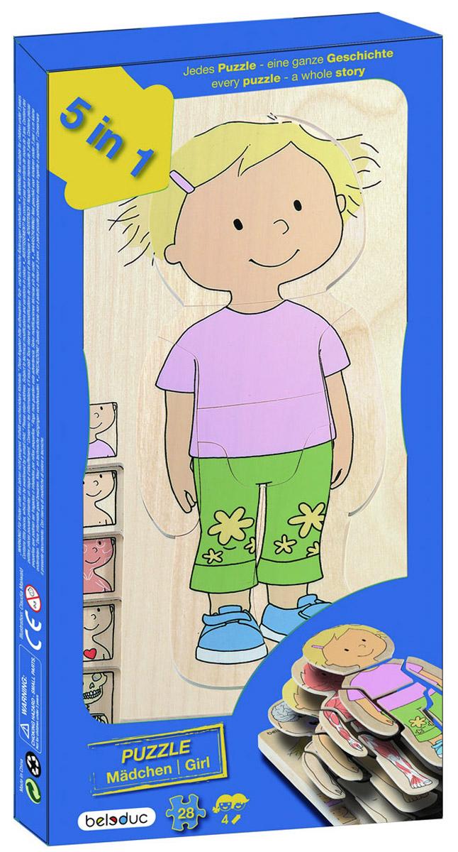 Beleduc Пазл для малышей Девочка 5 в 117128Пазл для малышей Beleduc Девочка. 5 в 1 - это развивающая игрушка, которая представляет собой пазл из 5 слоев и позволяет ребенку легко изучить строение своего тела. Каждый слой, состоящий из 7 частей, описывает отдельную систему тела человека - скелет, внутренние органы и мышцы. В процессе игры дети весело и легко познают свое тело. Игрушка развивает познавательные, ассоциативные навыки, способности комбинировать, способности логического и образного мышления, развивает мелкую моторику рук.