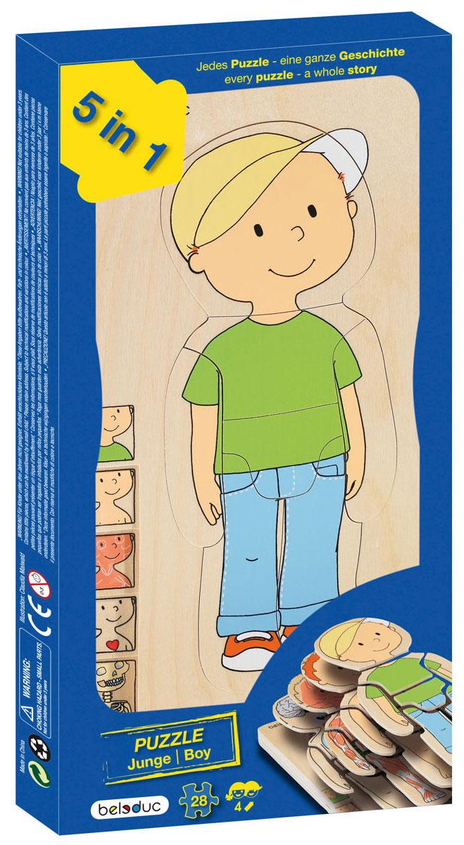 Beleduc Пазл для малышей Мальчик 5 в 117129Пазл для малышей Beleduc Мальчик. 5 в 1 - это развивающая игрушка, которая представляет собой пазл из пяти слоев. Игрушка позволяет ребенку легко изучить строение своего тела. Каждый слой, состоящий из семи частей, описывает отдельную систему тела человека - скелет, внутренние органы, мышцы. В процессе игры дети весело и легко познают свое тело. Пазл для малышей Beleduc Мальчик. 5 в 1 развивает познавательные и ассоциативные навыки, способность комбинировать, логическое и образное мышления, развивает мелкую моторику рук.