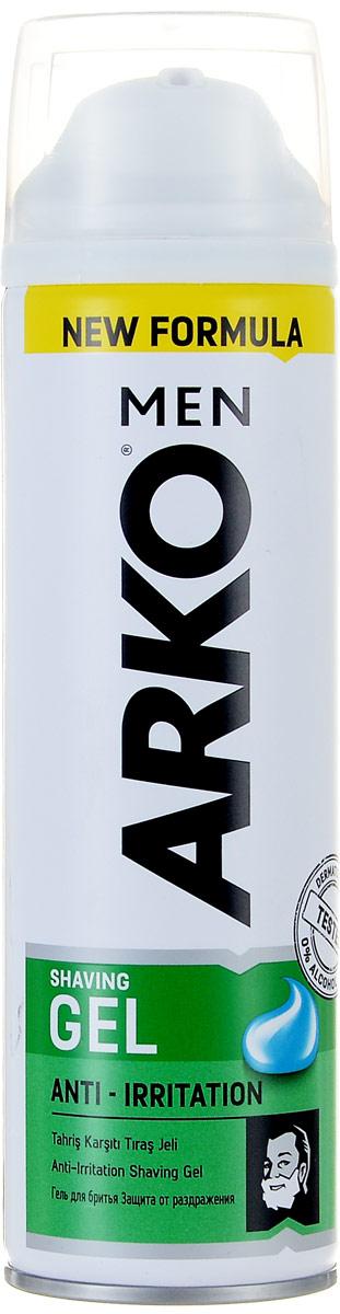Arko Men Гель для бритья Anti-Irritation 200мл800535676Гель для бритья уменьшает риск возникновения жжения кожи от бритья, за счет интенсивного смягчения щетины и увлажнения кожи. Содержит алое вера и экстракт ромашки.