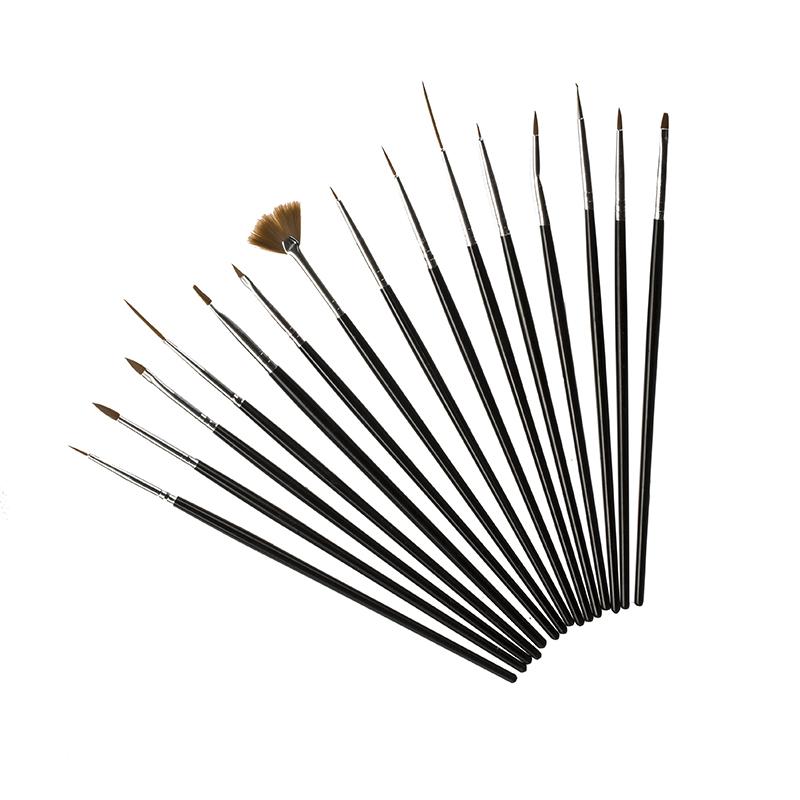 Fiera Набор кистей для геля и дизайна ногтей FBD-1502, 15 штук