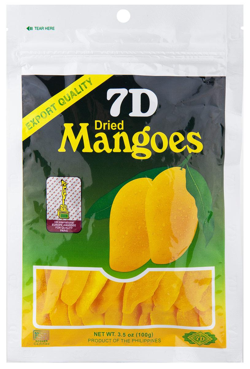 7D сушеные манго с сахаром, 100 г4809010272010Филиппинское манго 7D выращивается на собственных плантациях. В производство отбирается только спелое и свежее сырье(манго). В сушку идут тонкие срезы с поверхности плода. Калибровка этих тонких плоских кусочков - примерно от 10см и выше.