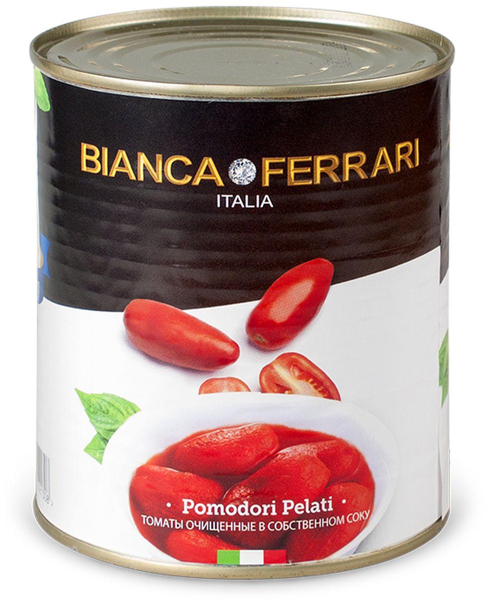 Bianka Ferrari помидоры очищенные пелати в собственном соку, 800 г50800032Целые очищенные сочные итальянские томаты в собственном соку. Используются исключительно летние томаты. Яркие, сочные, сладкие томаты, вобравшие в себя тепло средиземноморского солнца, станут украшением любого стола. Такие томаты прекрасно подходят как для самостоятельной закуски, так и для пиццы, пасты, тушеных овощей.