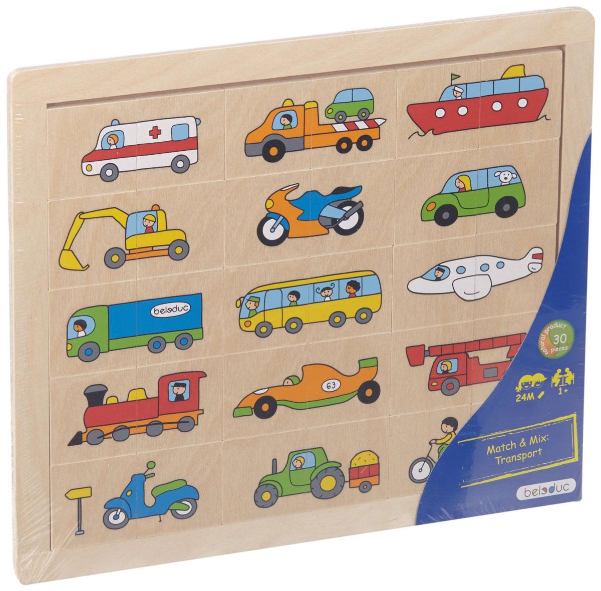 Beleduc Пазл для малышей Транспорт11007Пазл для малышей Beleduc Транспорт - прекрасная развивающая игрушка для ребенка в возрасте от 2 лет. В комплекте 30 элементов и основа. Каждая картинка состоит из 2 частей. Задача ребенка - правильно составить все картинки и разместить их в рамке. Игра способствует развитию визуального восприятия, наблюдательности, учит различать цвета и формы. Собирание пазлов тренирует пространственное мышление, умение выстраивать логические цепочки, что важно в школьном и взрослом возрасте.