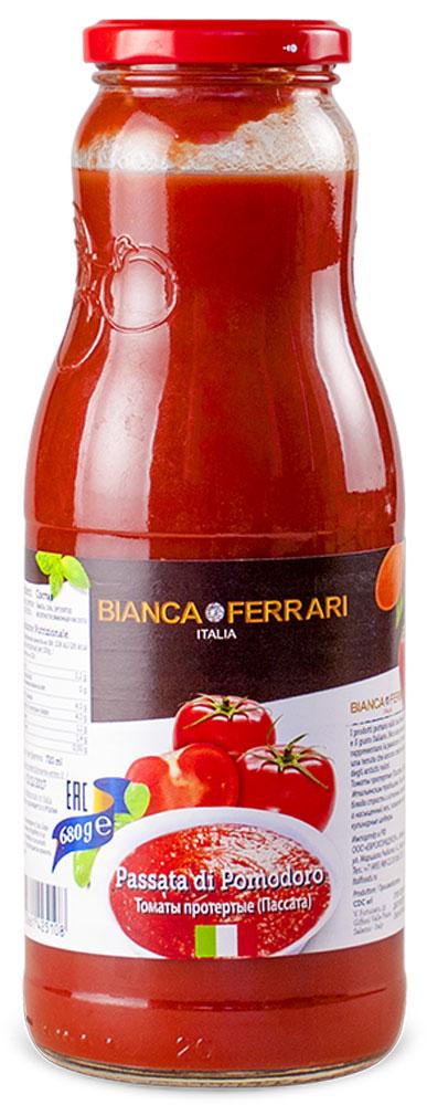 Bianka Ferrari томатное пюре, 720 мл50800030Томаты протертые (Пассата) сделаны по Итальянским традициям. Онипривносят в Ваши блюда страть и истинный аромат ценностей, а насыщенный вкус, позволяет готовить кулинаные шедевры