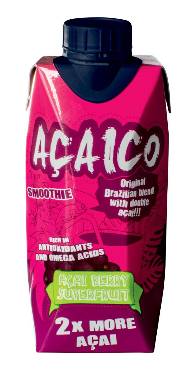 Acaico натуральный смузи с ягодами асаи, 330 мл11136835Ягоды асаи- это мощный природный антиоксидант. Великолепный на вкус коктейль АСАИКО подарит дозу здоровых антиоксидантов и энергии, а также даст заряд бодрости и иммунитета на целый день. В каждом глотке АСАИКО можно почувствовать характерный вкус ягод асаи, тропических фруктов и тонкий аромат гуараны.Натуральный смузи с ягодами асаи ACAICO, 330мл