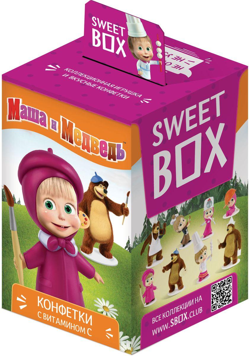 """Драже с игрушкой Sweet Box """"Маша и Медведь"""" - прекрасный подарок для вашего ребенка. 8 больших фигурок в коллекции!"""