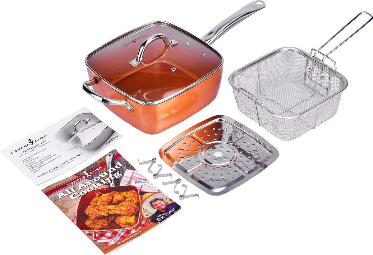 Сотейник Copper Chef с крышкой, с керамическим покрытием, с корзиной, с поддоном, с рецептами, 24 х 24 смKC15053-04000Сотейник Copper Chef изготовлен из высококачественного алюминия с антипригарным керамическим покрытием. Благодаря керамическому покрытию пища не пригорает и не прилипает к поверхности сотейника, что позволяет готовить с минимальным количеством масла. Кроме того, такое покрытие абсолютно безопасно для здоровья человека. Достоинства керамического покрытия: - устойчивость к высоким температурам и резким перепадам температур; - устойчивость к коррозии; - водоотталкивающий эффект; - покрытие способствует испарению воды во время готовки; - длительный срок службы; - безопасность для окружающей среды и человека. Изделие оснащено полыми ручками из нержавеющей стали и стеклянной крышкой с ручкой и отверстием для выхода пара. В комплект входят корзина для фритюра с ручкой и поддоном для варки на пару с ножками. Изделия выполнены из нержавеющей стали. А также входит буклет с рецептами. Сотейник...