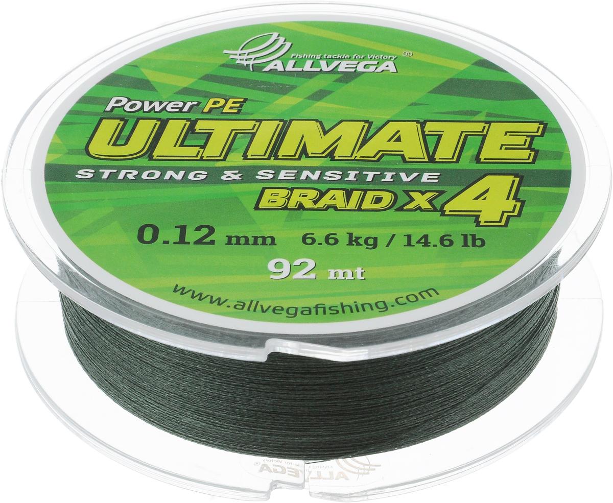 Леска плетеная Allvega Ultimate, цвет: темно-зеленый, 92 м, 0,12 мм, 6,6 кг59249Леска Allvega Ultimate с гладкой поверхностью и одинаковым сечением по всей длине обладает высокой износостойкостью. Леска изготовлена из высокотехнологичного материала (Power РЕ) методом плетения 4 прядей, покрытых специальным полимерным составом. Основными положительными качествами лески Allvega Ultimate являются: устойчивость к внешнему воздействию и максимальная чувствительность при поклевке, что обусловлено почти нулевой растяжимостью. Данные показатели крайне важны при ловле на бровках и в корягах. А круглая и гладкая поверхность лески обеспечивает ровную и плотную укладку на шпуле катушки, что позволяет делать дальний и точный заброс, делая леску универсальной для ловли любым видом спиннинга. Леску Allvega Ultimate можно применять в любых типах водоемов. Особенности: повышенная износостойкость; высокая чувствительность - коэффициент растяжения близок к нулю; идеально гладкая поверхность позволяет увеличить дальность забросов; ...