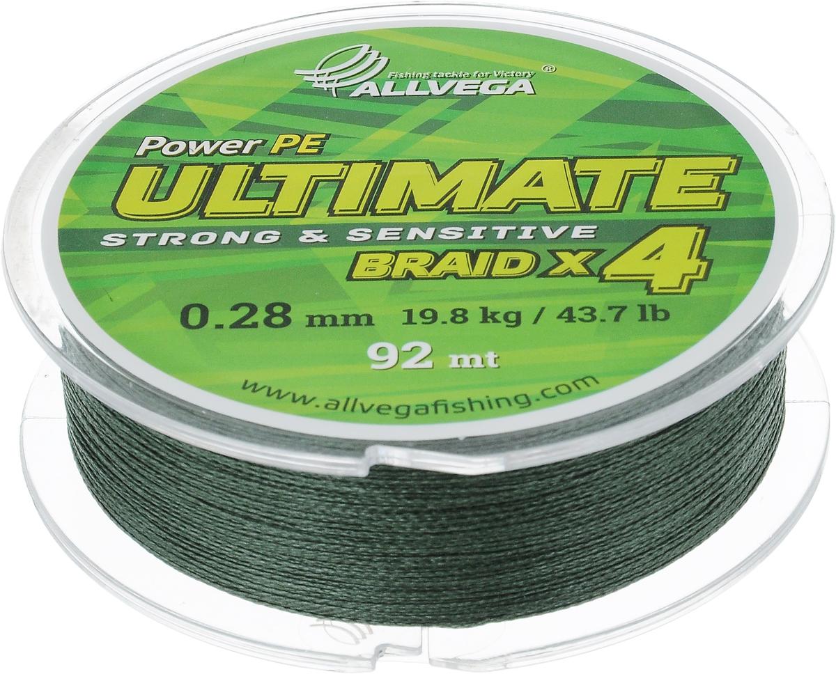 Леска плетеная Allvega Ultimate, цвет: темно-зеленый, 92 м, 0,28 мм, 19,8 кг59257Леска Allvega Ultimate с гладкой поверхностью и одинаковым сечением по всей длине обладает высокой износостойкостью. Леска изготовлена из высокотехнологичного материала (Power РЕ) методом плетения 4 прядей, покрытых специальным полимерным составом. Основными положительными качествами лески Allvega Ultimate являются: устойчивость к внешнему воздействию и максимальная чувствительность при поклевке, что обусловлено почти нулевой растяжимостью. Данные показатели крайне важны при ловле на бровках и в корягах. А круглая и гладкая поверхность лески обеспечивает ровную и плотную укладку на шпуле катушки, что позволяет делать дальний и точный заброс, делая леску универсальной для ловли любым видом спиннинга. Леску Allvega Ultimate можно применять в любых типах водоемов. Особенности: повышенная износостойкость; высокая чувствительность - коэффициент растяжения близок к нулю; идеально гладкая поверхность позволяет увеличить дальность забросов; ...